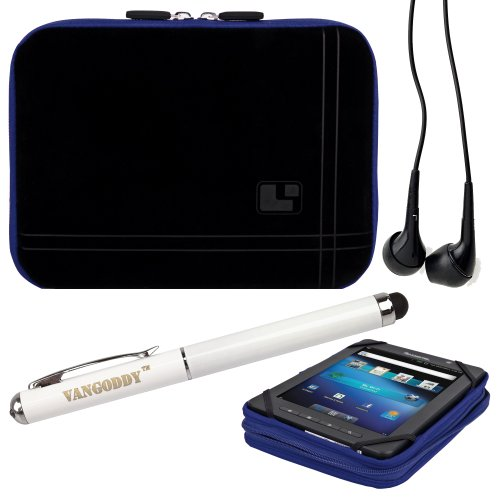 8 Inch Tablet Case Streak Blue Neoprene Bubble Padded Zippered Sleeve (Fits the HTC EVO View and HTC Flyer) + Black HTC EVO View and HTC Flyer Compatible Stereo Ear Buds + 3 In 1 Stylus/Laser Pointer/LED Flashlight