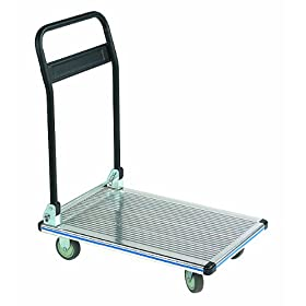 "Wesco 272076 Aluminum Platform Truck with Folding Handle, 330 lbs Load Capacity, 34-1/2"" Height, 29"" Length x 18-1/2"" Width"