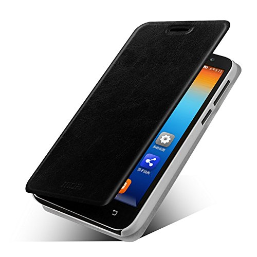 DAYJOY Luxury Elegant Side Flip Flio Ultra Thin Leather Protective Bumper Case Cover Shell with stand function + 1PC 9H hardness tempered glass protector film for LENOVO A808T A8 A806 (BLACK)