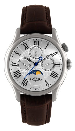Rotary-Mens-Quartz-Watch-with-Silver-Dial-Analogue-Display-and-Brown-Leather-Strap-GS0283801