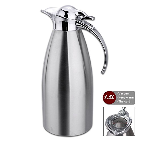 Coffee-Pot-Stainless-Steel-Double-Wall-Vacuum-Insulated-15L-Large-Capacity-TeaWater-Pitcher-with-Press-Button-Silver