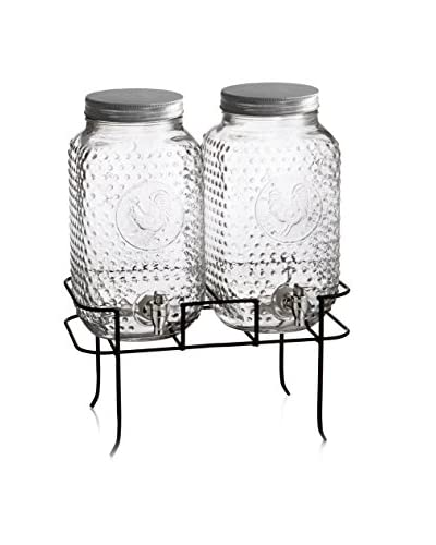 Style Setter Set of 2 Rooster 1.5-Gal. Beverage Dispensers with a Galvanized Stand