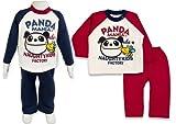 (パンダマニア)PANDA MANIA 2015 パンダちゃんプリント 長そでパジャマ 脇ボタン付き 95cm レッド
