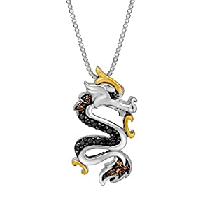 1/8 ct Black and Champagne Diamond Dragon Pendant Necklace in Sterling Silver and 14K Gold