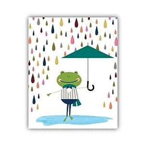 Amazon.com : Rana en la lluvia Acuarela Imprimir decoración de la