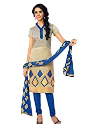. Jcm chanderi Unstitched salwar suit cream blue color for party wear.....