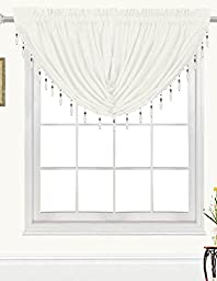 RT Designers Collection Kennedy Swag Valance, Ivory