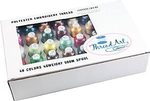 Polyester Embroidery Thread Set - 40 Spools (500 meter spools/40 wt.) - Set A Vibrant Colors