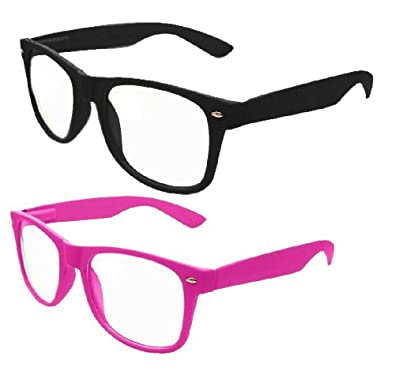 """Vintage """"Buddy"""" Wayfarer Sunglasses - (6 Colors Available),One Size,Black and Pink Matte Finish"""