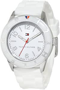 Tommy Hilfiger Women's 1781184 Sport Stainless Steel and White Silicon Strap Watch