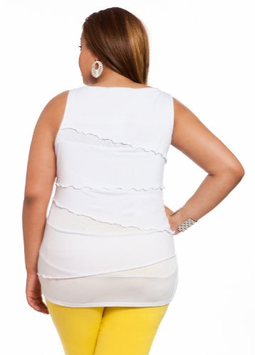 Ashley Stewart Women's Plus Size Sleeveless Asymmetrical Tiered Top White 12