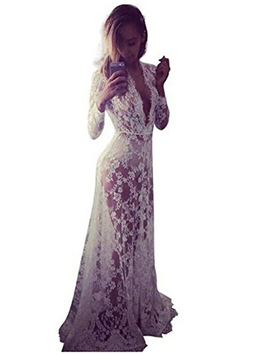 Sexy Deep V-Neck Long Sleeve Lace Beach Dress See-through Maxi Dress Plus size 34XL