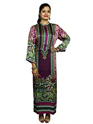 Kaarvaan Women's Satin Unstitched Dress Material(C-2289_Brown&Pink_FreeSize)