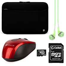 buy Vangoddy Neoprene Sleeve Cover For Asus Rog 17.3-Inch Gaming Laptops + Green Vg Headphones + Red Wireless Usb Mouse + 16Gb Memory Card (Black)