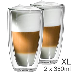 mohnblume 2er set xl latte macchiato glas 350ml doppelwandig thermoglas mit schwebeeffekt. Black Bedroom Furniture Sets. Home Design Ideas