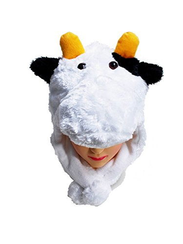 [Animal Fleece Hats with Ear Flaps and Pom-Poms (White Cow)] (Cow Head Hat Adult)