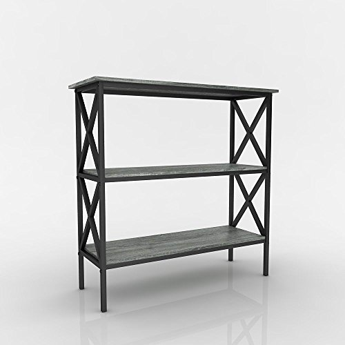 Weathered grey oak finish 3 tier metal x design bookcase for 10 inches deep console table