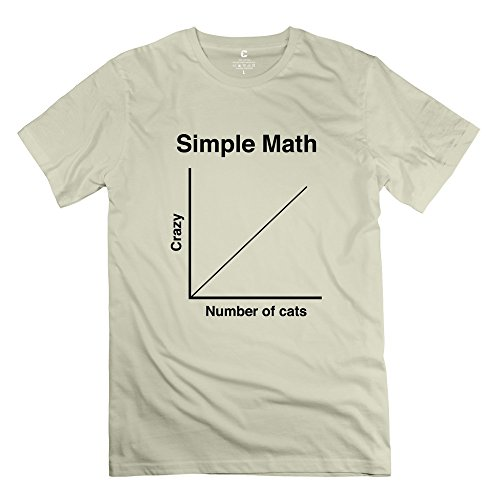 Summer Simple Math Crazy Cats T Shirt For Men'S 100% Cotton O-Neck Natural Xs