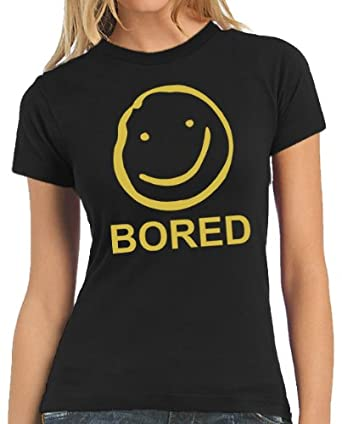 Touchlines - Bored Smiley LADIES T-Shirt Black, XS
