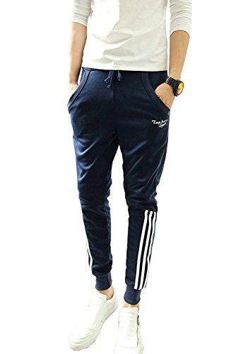 Minetom Pantaloni da Jogging da Uomo sportivi Casual Sarouel danza Pantaloni in esecuzione ( Marina?corta?Stripe EU M )