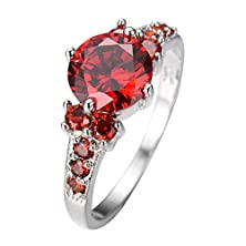 buy Rongxing Ring Women'S Round Red Ruby Garnet Zircon 10K White Gold Filled Size 6-10