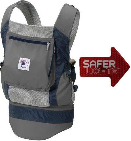 Ergo Baby Performance Grey Carrier with Free Bonus Safer Light LED Safety Reflector