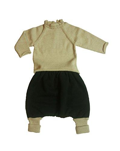 Olivia robe da bimbi, Completo maglioncino beige e pantalone nero, bambina, 4 anni