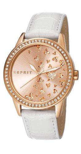 Esprit  ES107312003 - Reloj de cuarzo para mujer, con correa de cuero, color blanco