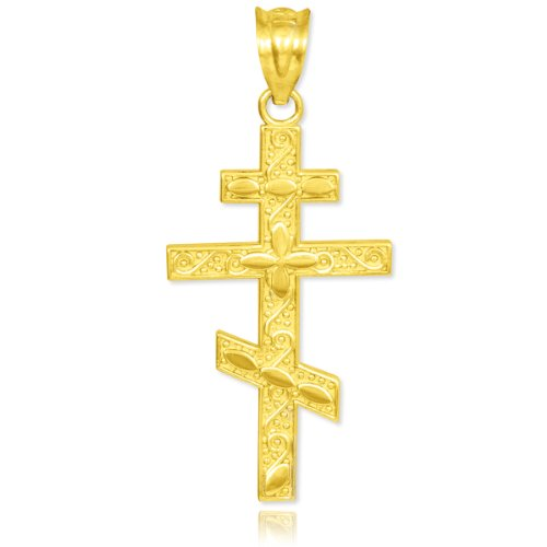 10K Gold Russian Orthodox Cross Pendant