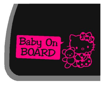 GIRL Hello Kitty Baby On Board PINK Car Decal / Sticker
