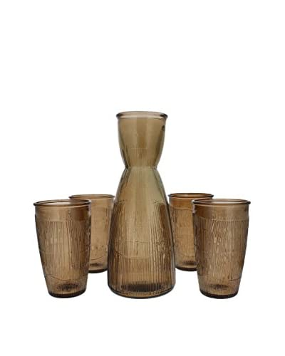 French Home Recycled Glass Decanter & 4 Tumblers, Mocha