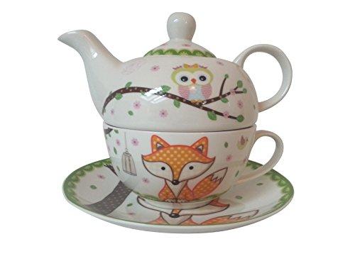 Motif renard tea for one ensemble théière et tasse de thé
