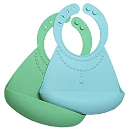 Waterproof Silicone Bibs with Food Catcher Pocket for Baby and Toddler, 2 Pack (Pearl - Green / Turquoise), Homwe
