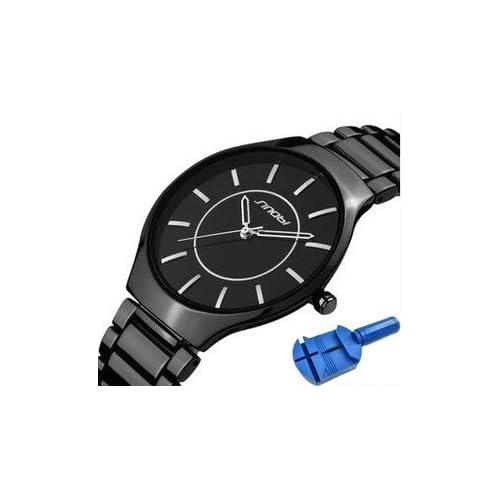【p watch】極薄 抜群のフィット感 ステンレス 腕時計 メンズ 3針 ブラック / 日本製 クオーツ / ベルト 調整用 コマ外し付き (ソリッド ブラック)