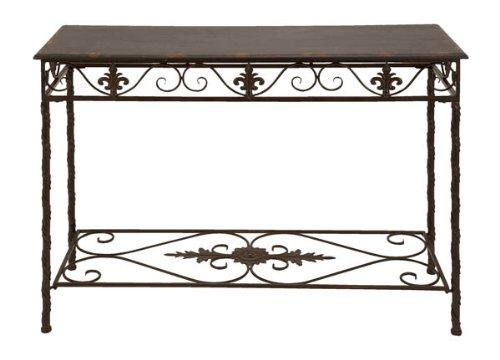 Cheap Elegant Fleur De Lis Metal Wood Console Table (B006QJU0AY)