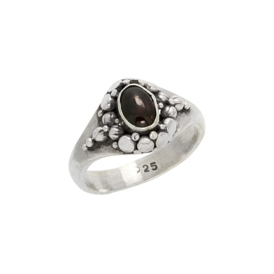 Sterling Silver Oxidized Ring Oval Cut 7 x 5 mm Natural Amethyst Stone, 7/16 inch wide, size 9.5