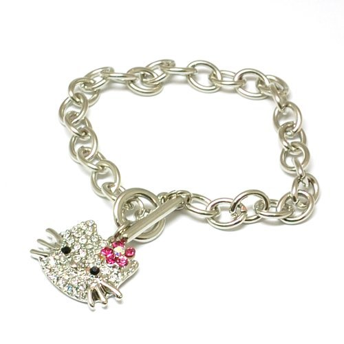 The Olivia Collection Crystal Encrusted Kitten Bracelet with T-Bar