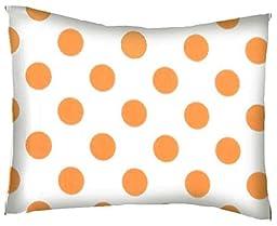 SheetWorld Crib / Toddler Percale Baby Pillow Case - Neon Orange Polka Dots - Made In USA