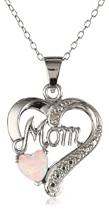 """Sterling Silver Diamond Accent and Lab Created Opal Mom Heart Pendant Necklace, 18"""""""