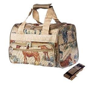 "Tapestry Duffle Bag - Horse Design - 13"" x 8"" x 8¼""."