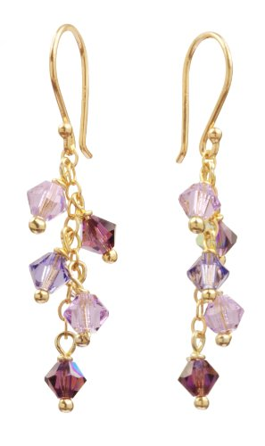 Gold Over Sterling Silver Ear Wire and Chain Earrings with Amethyst and Crystallized Swarovski Elements Purple Multi-Drops