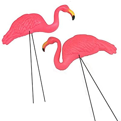 2 X-large Pink Flamingo 3-dimensional Yard Ornaments