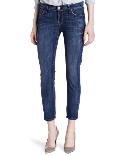 7 For All Mankind Women's Slim Straight Jean, Medium Worn Whiskered, 26