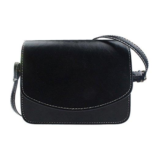 Borsa Familizo Elegant similpelle spalla delle donne Bauletto retro borsa Messenger (Nero)