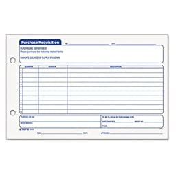Purchasing Requisition Pad, 5 1/2 x 8 1/2, 100/Pad, 2/Pack, Sold as 200 Sheet