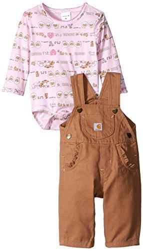 Carhartt Baby Girls Farm Stripe Overall Set Honey Ginger