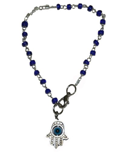 Kabbalah Bracelet with Silver Evil Eye Protection Blue Beads