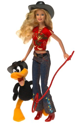 """Looney Tunes Back in Action Barbie Loves Daffy Duck El Pato Lucas Patolino with 6"""" Plush Daffy Duck and Barbie in Western Outfit (2003)"""