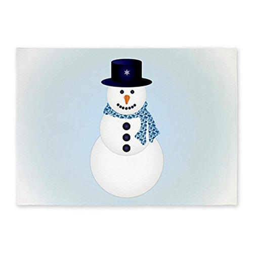 5' x 7' Area Rug Snowman with Winter Blue Aura