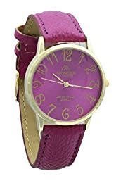 Unisex Gold Plated Mondex PU Leather Strap Watch (Fuchsia Strap With Fuchsia Dial)